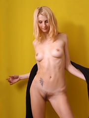 Zemani.com Svetka - Attractive yong blond girl with hairy pussy take her clothes off in a yellow room.