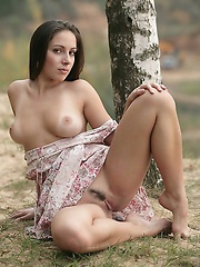 Hot busty Anely with natural breasts getting naked