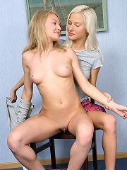 Nichol and Jodi - Cute schoolgirls strip and dildo